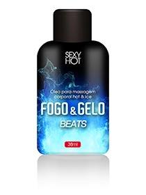 Óleo para Massagem Beijável Fogo e Gelo - Beats 38g